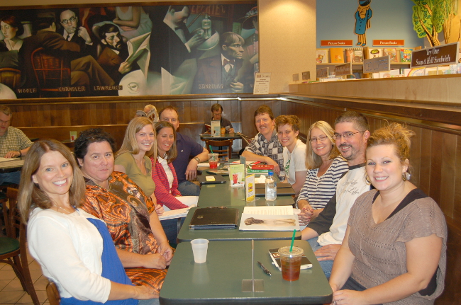 This meet-up photo from August 2012 shows how our group looks before we break into smaller working groups -- only participation is increasing and we are taking over the Barnes and Noble coffee shop in Edina. Click here for more information: MN SCBWI meet up. We welcome all SCBWI members!