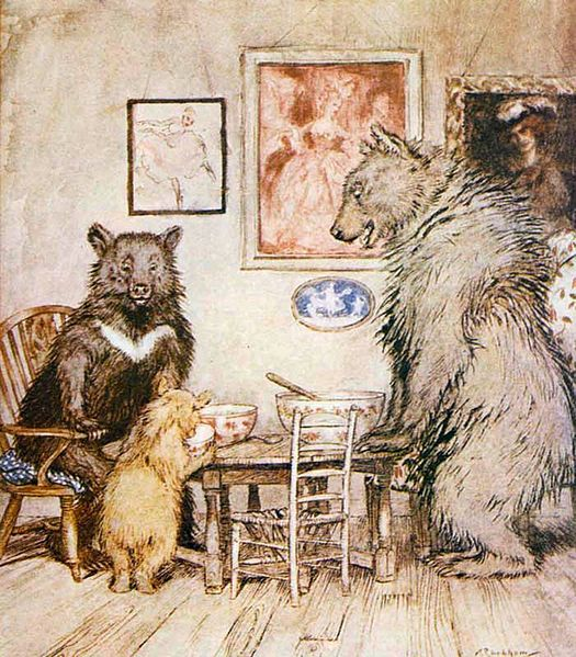Aruthur Rackham's illustration from GOLDILOCKS AND THE THREE BEARS from the Project Gutenberg archives.