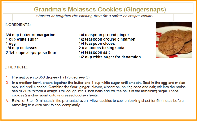 Grandmas Molasses Cookies