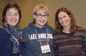 Alicia, Nina, and conference volunteer and MN SCBWI Banner Contest winner Sara Weingartner